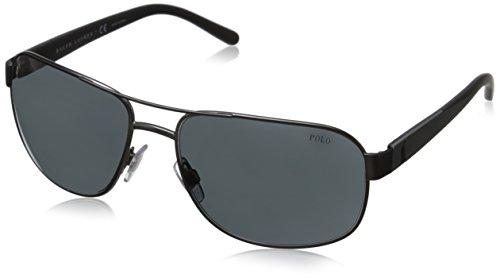 Polo Ralph Lauren Men's 0PH3093 Square Sunglasses, Mat Dark,Gunmetal,Grey,Black & Matte Grey, 62 - Sunglasses Aviator Lauren Ralph