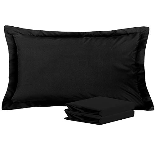 NTBAY King Pillow Shams, Set of 2, 100% Brushed Microfiber, Soft and Cozy, Wrinkle, Fade, Stain Resistant (Black, King)