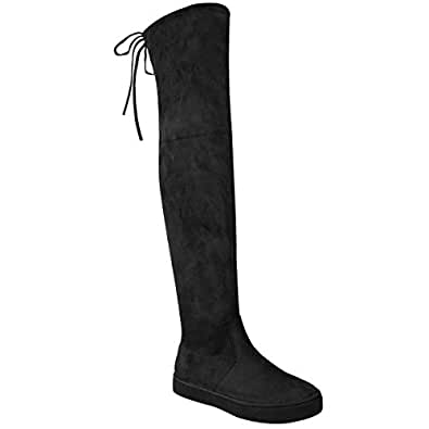 Fashion Thirsty Womens Over The Knee Flat Thigh High Boots Low Heel Lace Up Slouch Size 6 (US), 5.5 (AU)