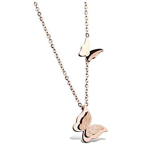 Jewelry Womens Stainless Steel Butterfly Pendant Charms Necklace Clavicle Chain Rose Gold , 16-18 Inch Chain