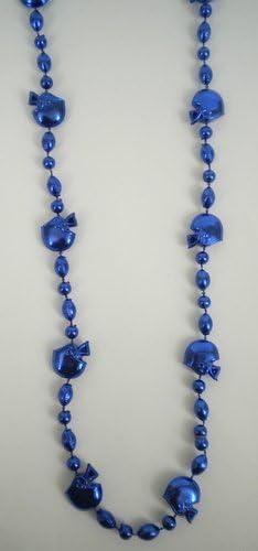 36 INCH Royal Blue Football Helmet Bead Necklace Mardi Gras Spot DOZEN