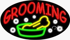 Pet Grooming Neon Sign - 17 x 30 x 2 inches - Made in USA