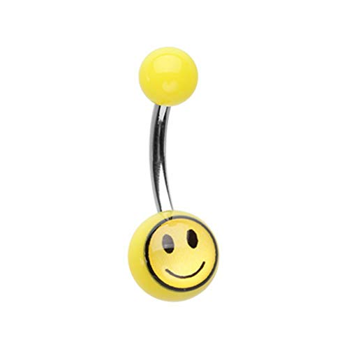 (14 GA Smily Face Acrylic Logo Belly Button Ring 316L Surgical Stainless Steel Body Piercing Jewelry For Women And Men Davana Enterprises)