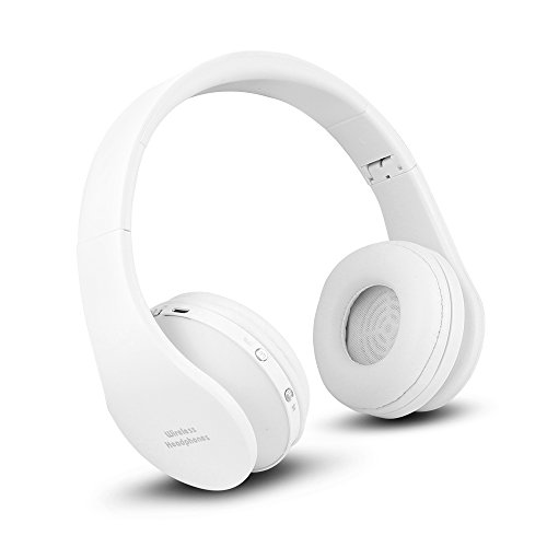 FX-Viktaria Dual Mode Wireless Headset, On Ear Headphone Foldable,Stereo Headset Lightweight Design, Soft, Compatible with iPods, iPhones, iPads, Smartphones, Tablets, Laptops and PC (White)