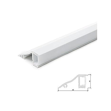 Perfíl de Aluminio para LEDS Blanco Instalación en Paredes - Difusor Opal - 1 Metro: Amazon.es: Iluminación
