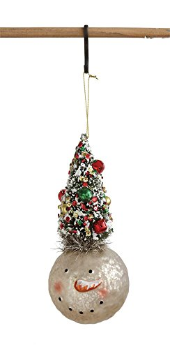 Creative Co-op Glass Snowman Ornament with Bottle Brush Tree, Multi