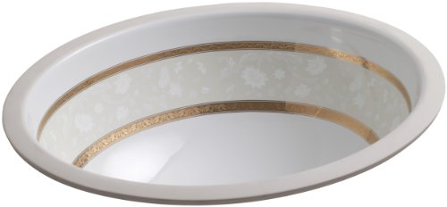 (KOHLER K-14218-FG-0 Flight of Fancy Gold Design on Caxton Undercounter Bathroom Sink, White)