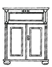 Gradel Alina Sekretär mit 1 Klappe, 2 Türen, 3 kleine Schubkästen und 1 Einlegeboden in Fichte massiv - weiss gewischt, mit Gebrauchsspuren