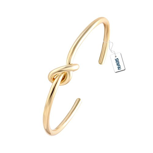 SENFAI Love Knot Simple Knot Bangle Cuffs for Women Stretch Bracelet Gold and Silver Rose Gold Knot Bangles (gold)