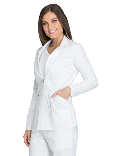 Dickies Essence Women's Zip Front Warm-Up Solid Scrub Jacket Xx-Small White - White Warm Up Jacket