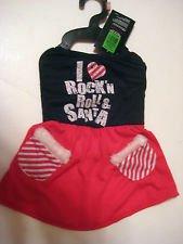 Pets Rock I Love Rock'n Roll & Santa Dress (Size Xs) -