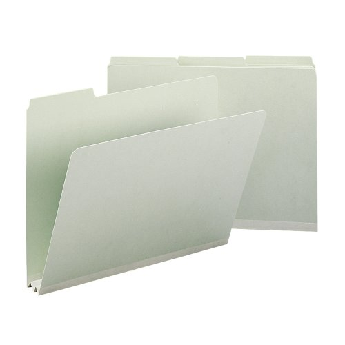 "Smead Pressboard File Folder, 1/3-Cut Tab, 2"" Expansion, Letter Size, Gray/Green, 25 per Box (13234)"