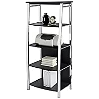 Realspace(R) 4-Shelf Mezza Bookcase, Black/Chrome