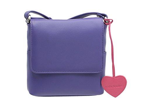 Sac en bandoulière en cuir compact Collection Anishka en cuir 772_75 Purple Candy