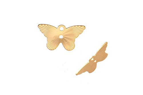Laser Charm, Radian Butterfly 16K Gold-Finished Gold-Finished Brass 8.5x14mm sold per pack of 20
