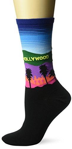 Hot Sox Women's Travel Series Novelty Fashion Crew, Hollywood (Dark Blue), Shoe Size: 4-10