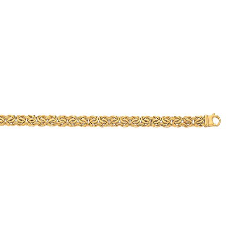 14K Yellow Gold Shiny Byzantine Fancy Bracelet or Chain with Pear Shape Clasp (7.5, 7.2 (14k Byzantine Bracelet)