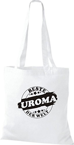 ShirtInStyle Bolso de tela Bolsa de algodón Mejor UROMA der Welt Blanco