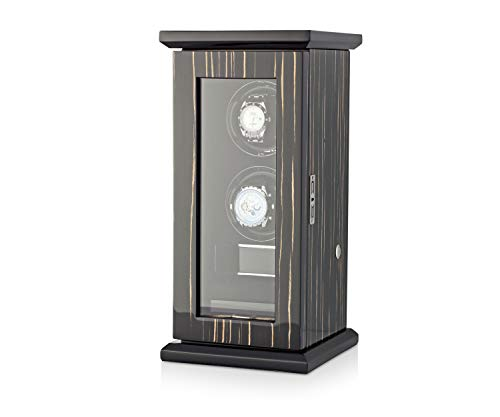 Watch Winder Box with LED Backlight, LCD Touchscreen Display and Storage Compartment (Black -