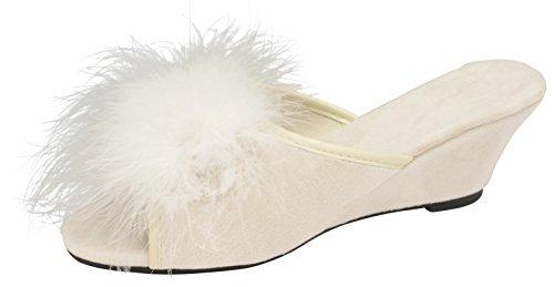 Womens Dunlop Marilyn Wedge Heel Slipper Mules Ivory