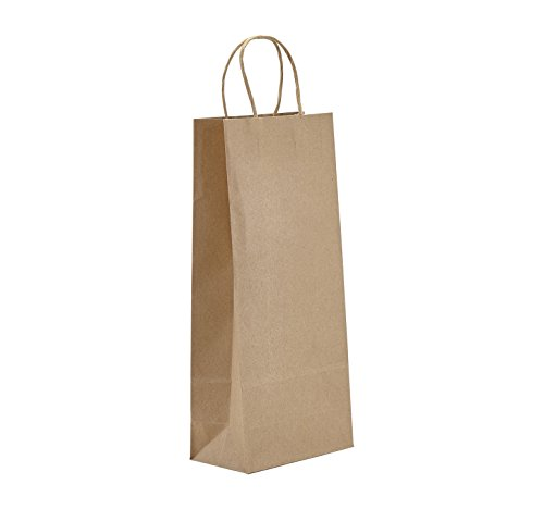 PTP - 5.75 x 3.25 x 13 Natural Kraft Paper Gift Tote Bags - 250 Count  Perfect for Birthdays, Weddings, Holidays and All Occasions   White or Natural Colors   Multiple Sizes