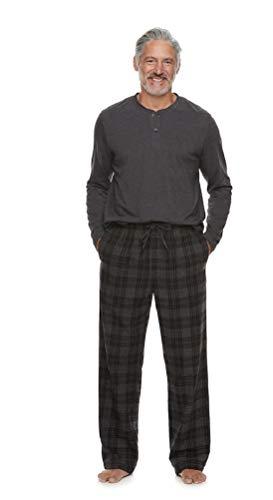 Croft & Barrow Mens Henley Shirt & Flannel Sleep Pants Pajama Set (Charcoal Gray Shirt/Black & Gray Plaid Pants, X-Large)