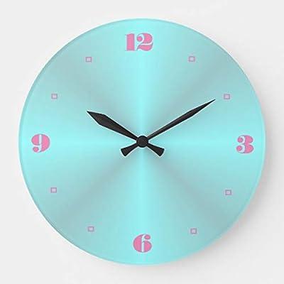 "PotteLove 12"" Aqua Pink Numerals Plain Kitchen Clocks Wooden Decorative Round Clock"