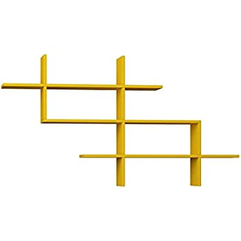 Ada Home Décor Warren Wall Shelf, 59'' x 32.5'' x 8.5'', Mustard