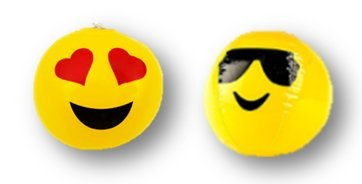 PlayO Emoji Mini Beach Balls - 12 Emoticon Emoji Face Mini Inflatable Balls - 6 inch Beach Balls