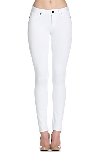 Poplooks Women's Casual Mid Rise Stretch Skinny Ponte Knit Jegging Pants (Medium, White)