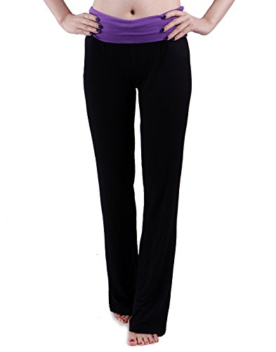 HDE Women's Color Block Fold Over Waist Yoga Pants Flare Leg Workout Leggings