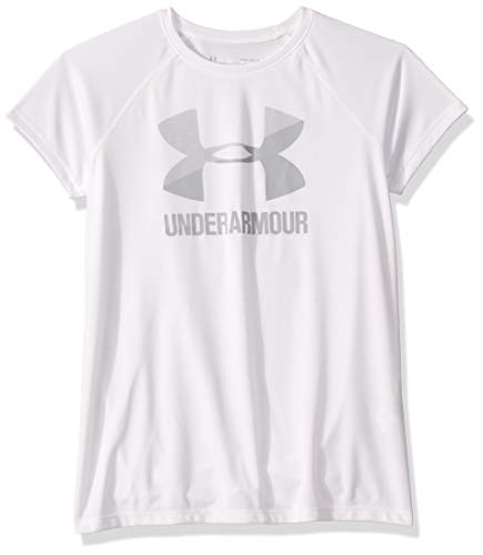 Under Armour girls Big Logo Solid Short Sleeve T-Shirt, White (100)/Mod Gray, Youth Small