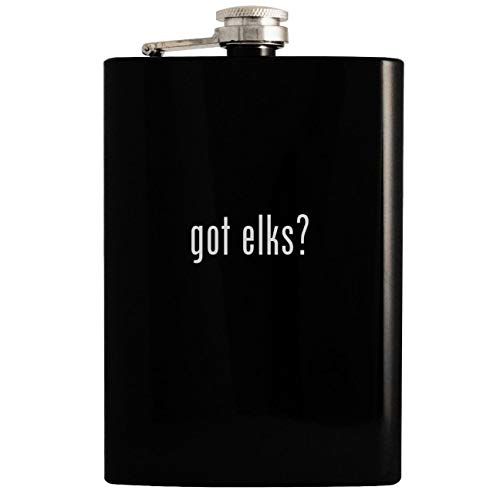 (got elks? - Black 8oz Hip Drinking Alcohol)