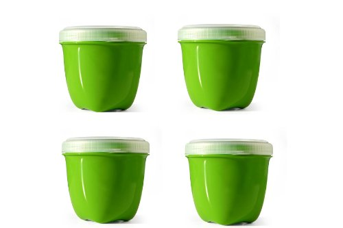 Preserve Jar Lid - Preserve Food Storage Container, 8 Ounce/Mini, Made from Recycled Plastic, Set of 4, Apple Green