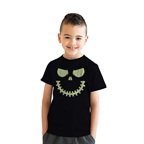Youth Skeleton Zipper Pumpkin Face Tshirt Glowing Halloween Glow in The Dark Tee (Black) M ()