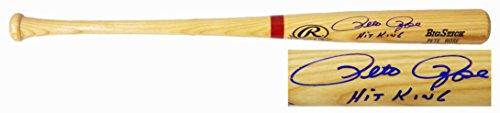 Signed Pete Rose Baseball Bat - Rawlings Blonde Name Engraved Big Stick w Hit King - Autographed MLB (Blonde Engraved Bat)