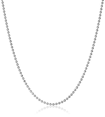 14k White Gold Lightweight Bead Chain 0.9mm Chain Necklace, 20