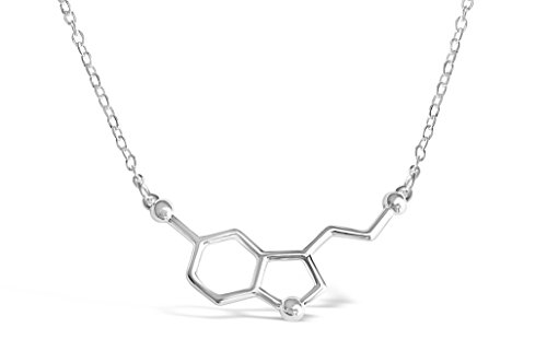 Rosa Vila Happiness Serotonin Molecule Necklace For Women, Happy Serotonin Necklace, Science Jewelry For Women, Ideal Necklaces For Teacher, Professor, Chemistry Grad, And Science Lovers (Silver Tone) (Jewelry Happiness)