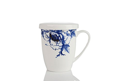 Porlien Elegance Collection Blue Floral Porcelain Coffee Mug with Lid, Perfect for Everyday Coffee,Tea, Hot Cocoa & Holiday Gifts for Friends (475 ML) (Floral Collection Blue Mug)