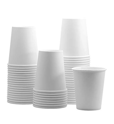 [100 Pack] 8 oz. White Paper Hot Cups, Coffee Cups