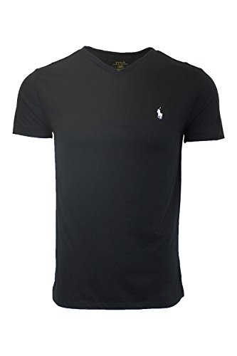 (Polo Ralph Lauren Men's Standard Fit V-Neck T-Shirt (XX-Large, Black (White Pony)))