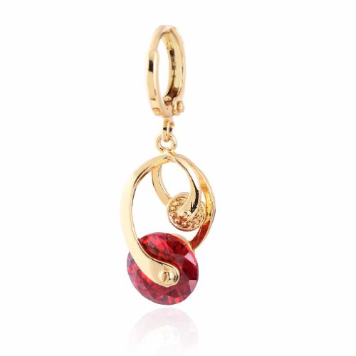 (YAZILIND Charming Smooth Twisted Design 18k Gold Plated Red Cubic Zirconia Dangle Drop Earrings)