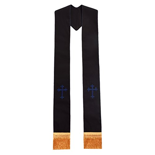 BLESSUME Clergy Black Stole Cross Embroidered 1pc (Overlay Cross Stole)