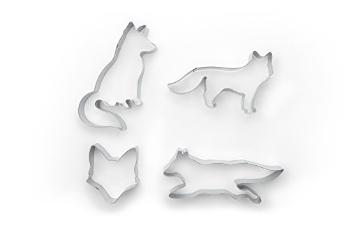 Fox Run 36541 4-Piece Fox Cookie cutters, 5 x 7.25 x 1 inches, Metallic
