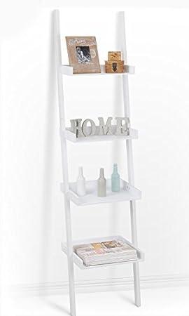 Spetebo - Escalera estantería con 4 estantes en blanco (168 x 37 cm), ideal para salón o como estantería de baño: Amazon.es: Hogar