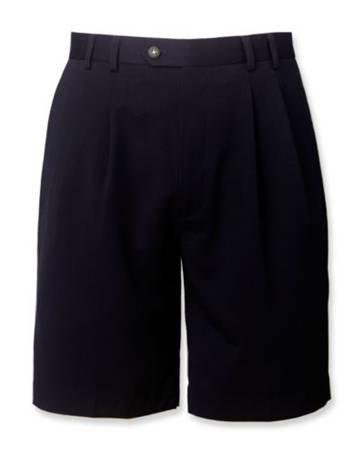 Cutter & Buck Men's Pleated Gabardine Microfiber Shorts Dark Navy 32