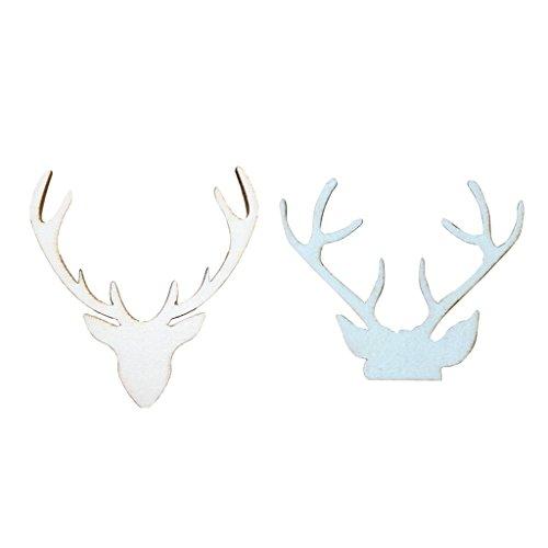 MonkeyJack 20pcs Wooden Deer Antler Shape Wooden Tag Craft Christmas Party Decoration]()