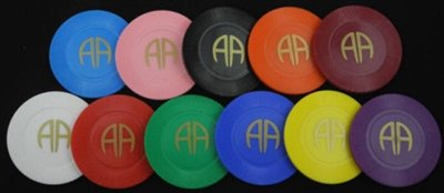 Complete 11 Piece Set of AA - WT,RD,GN,BL,YL,PU,LTBL,PK,BK,OR,BURG - Plastic Poker Chips - Poker Chip Set Coin Chips