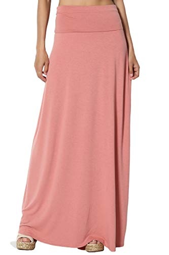 TheMogan Women's Casual Solid Draped Jersey Relaxed Long Maxi Skirt Ash Rose S