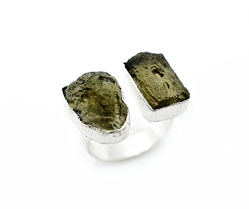 925 Sterling silver ring with rough stone, moldavite - Buy Online in